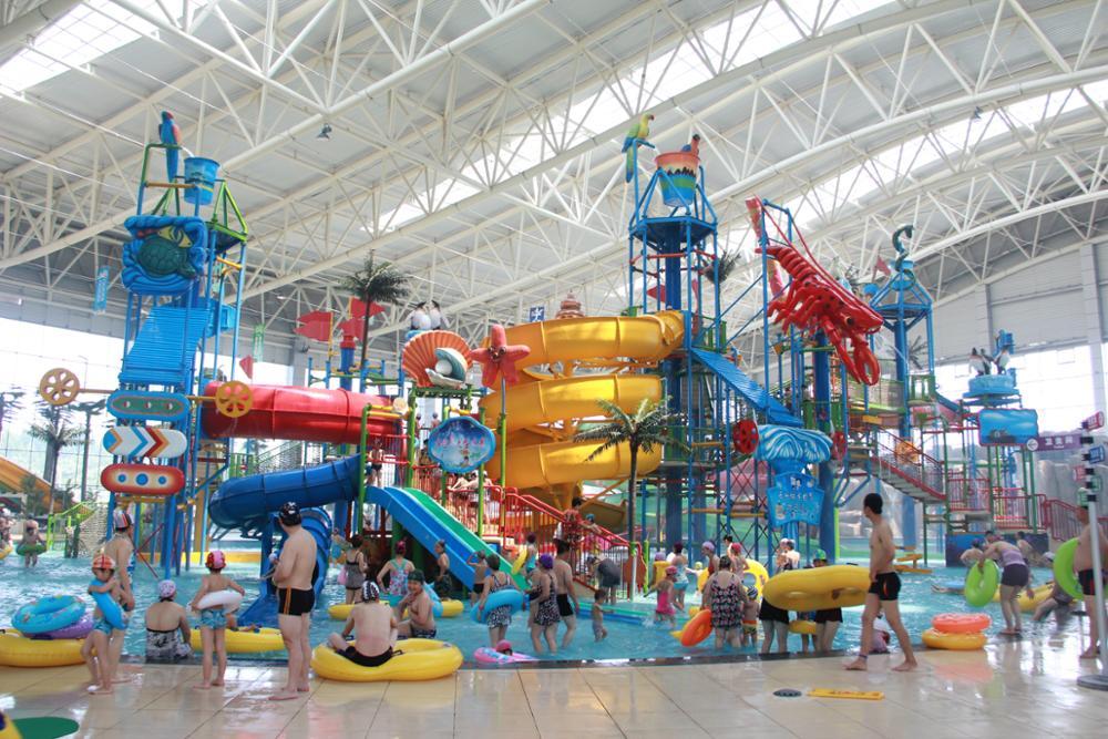 Qingfeng 2017 carton fair lager water village park fiberglass water slide kids outdoor water game water park equipment