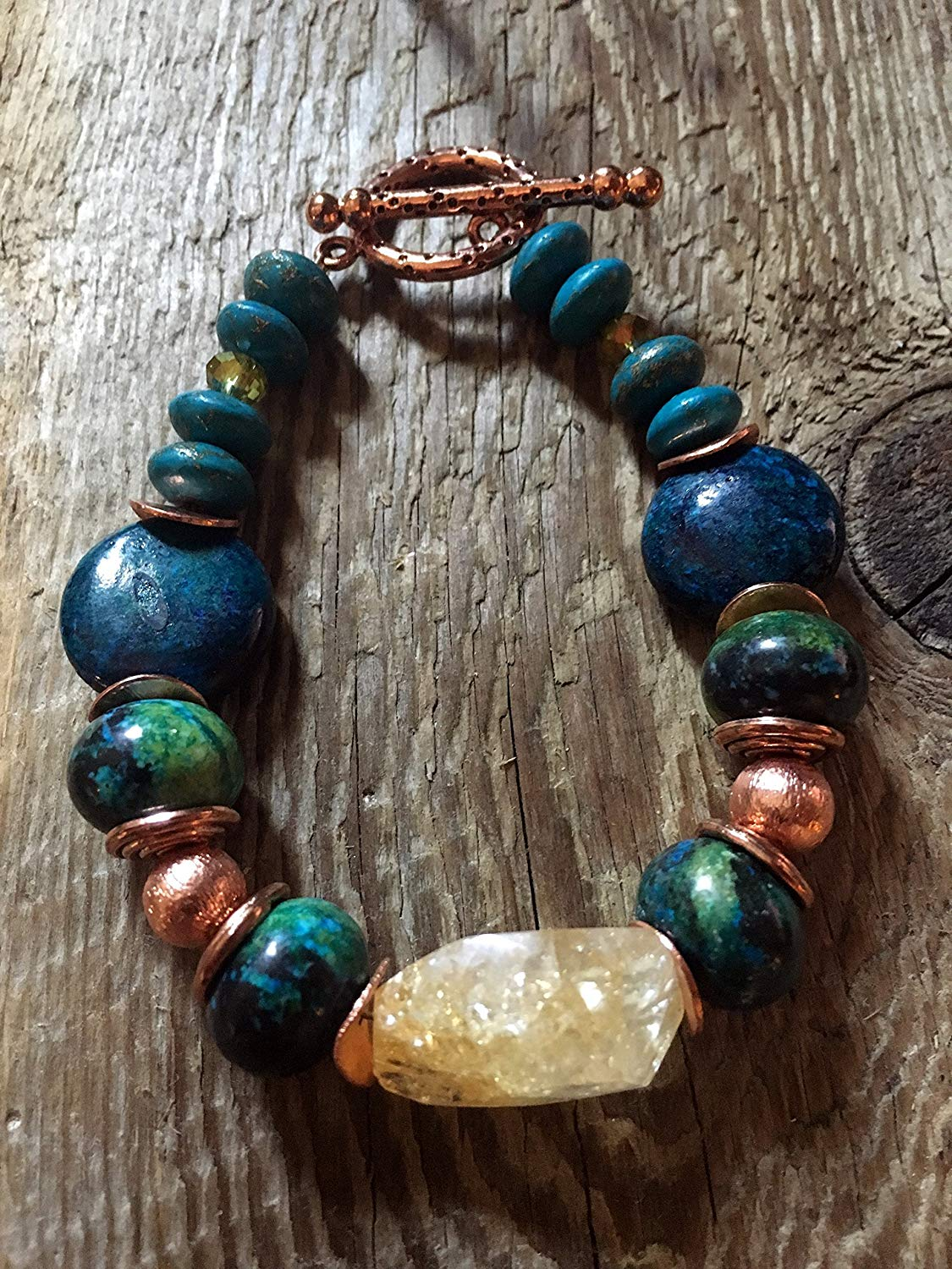 Turquoise Bracelet - Chunky Citrine Nugget, Eclectic Mixed Media of Turquoise Stones, Copper Swirl End Caps and a Pitted Large Copper Toggle Clasp