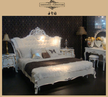 French Provincial Antique White Solid Wood Bedroom Set