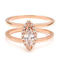 Marquise cut diamond ring brass jewelry rose gold plated rings