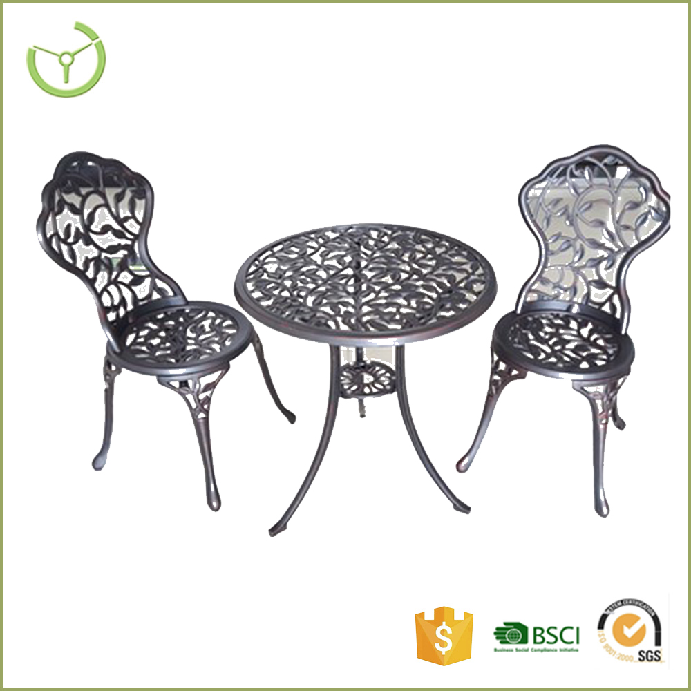 FASHION 3pcs pattern outdoor dining furniture set cast aluminim with table and chairs