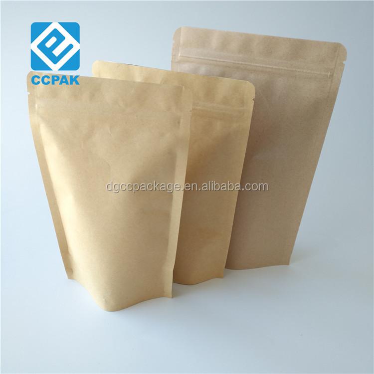 Herbruikbare organische bruine kraftpapier ziplock voedsel pouch groene thee verpakking papieren zakken