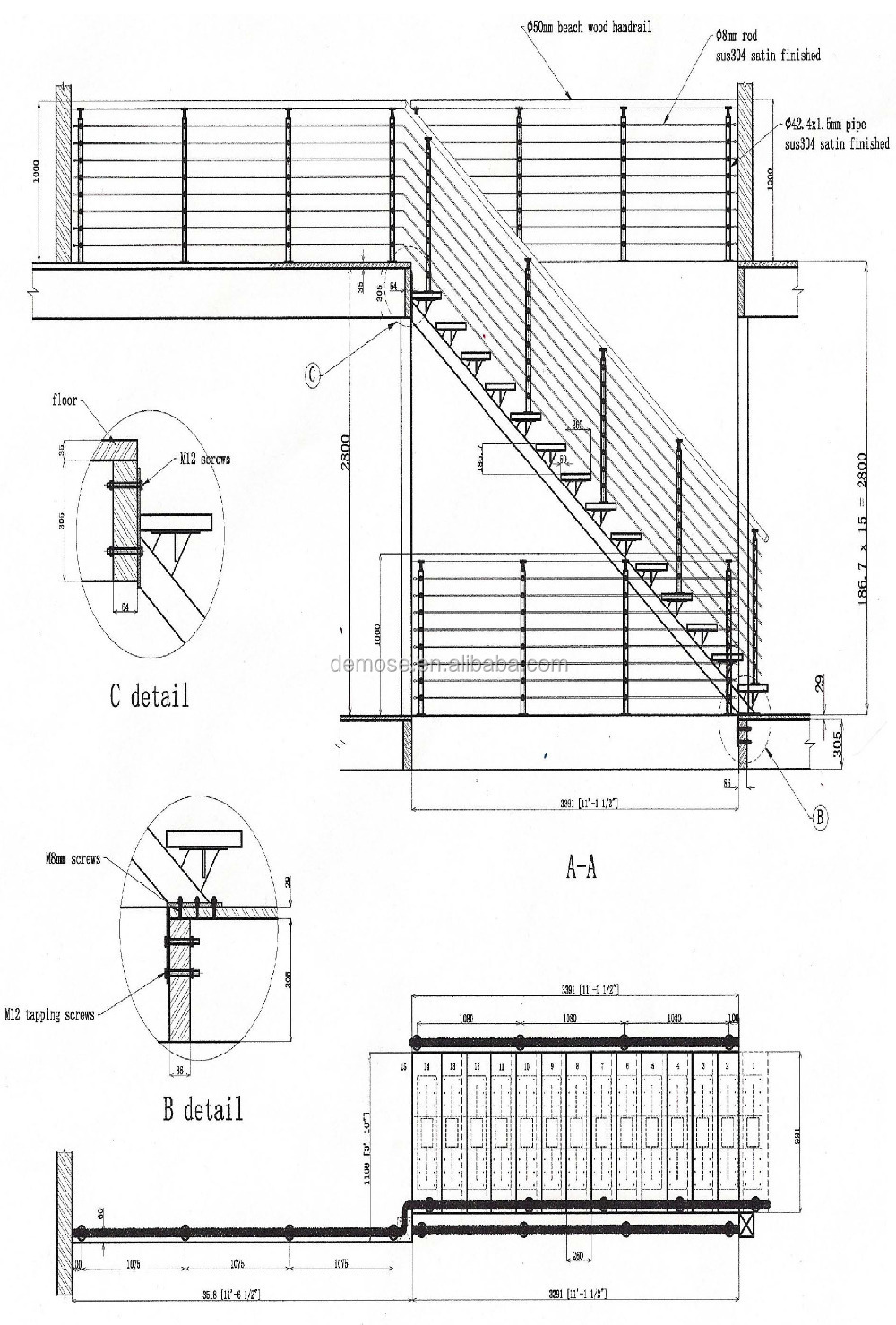 metal banister spindles stainless steel staircase. Black Bedroom Furniture Sets. Home Design Ideas