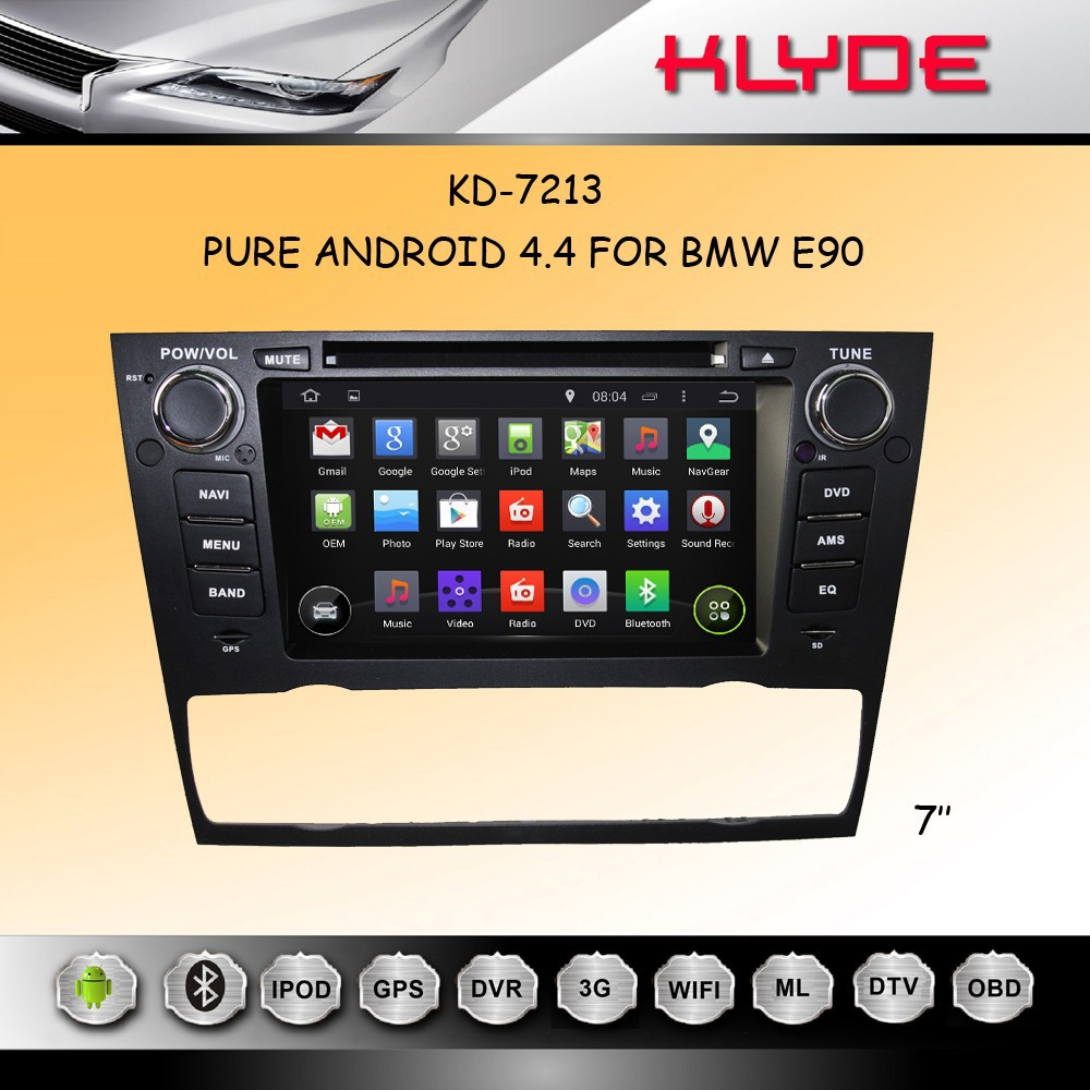 pure android 4.4 car dvd player for e90/91/92/93 with 3g wfi