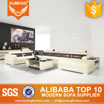 Foshan Large U Shape Inexpensive Leather Sofa Dubai Market Home Furniture