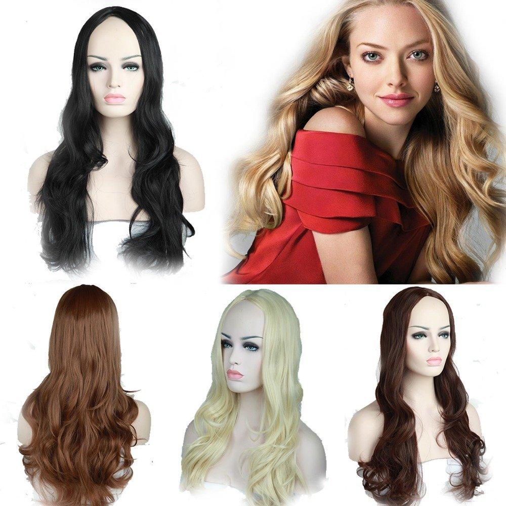 "Pyracin(TM) 5 Colors 25"" (65cm) Women's Long Wavy Dark Black/Brown/Blonde 3/4 Half Wigs Kanekalon Heat Resistant Costume Daily Dress Wig"