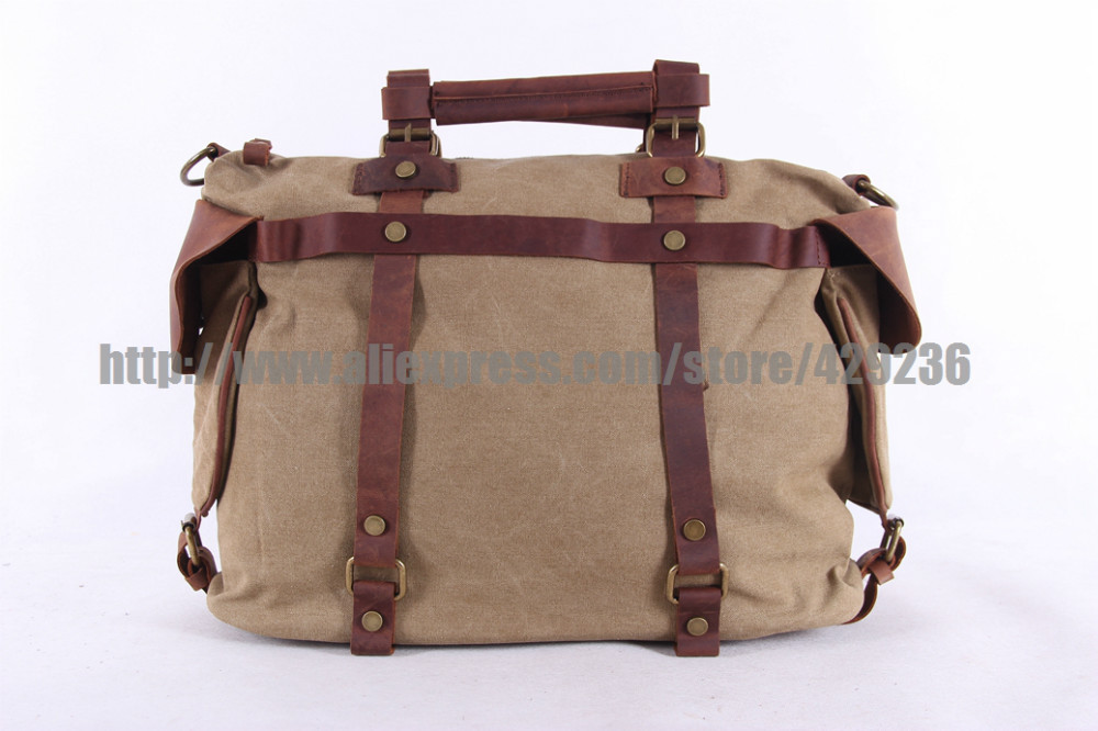 High Quality Canvas Bag Canvas Leather Bag Handmade Crossbody Bag Casual Laptop School Bag 1801