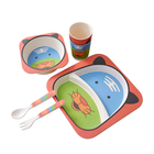 Wholesale Food Grade Kids Bamboo Fiber Plate Set Eco Friendly With Bottom Price Natural Kids Dinner Plate Dinnerware Set