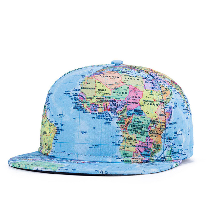 Get Quotations · Summer Style Snapback Gorras Hat Bon Flat Brimmed Baseball  Cap 3D Print The World Map Adjustable 355f8d98b687