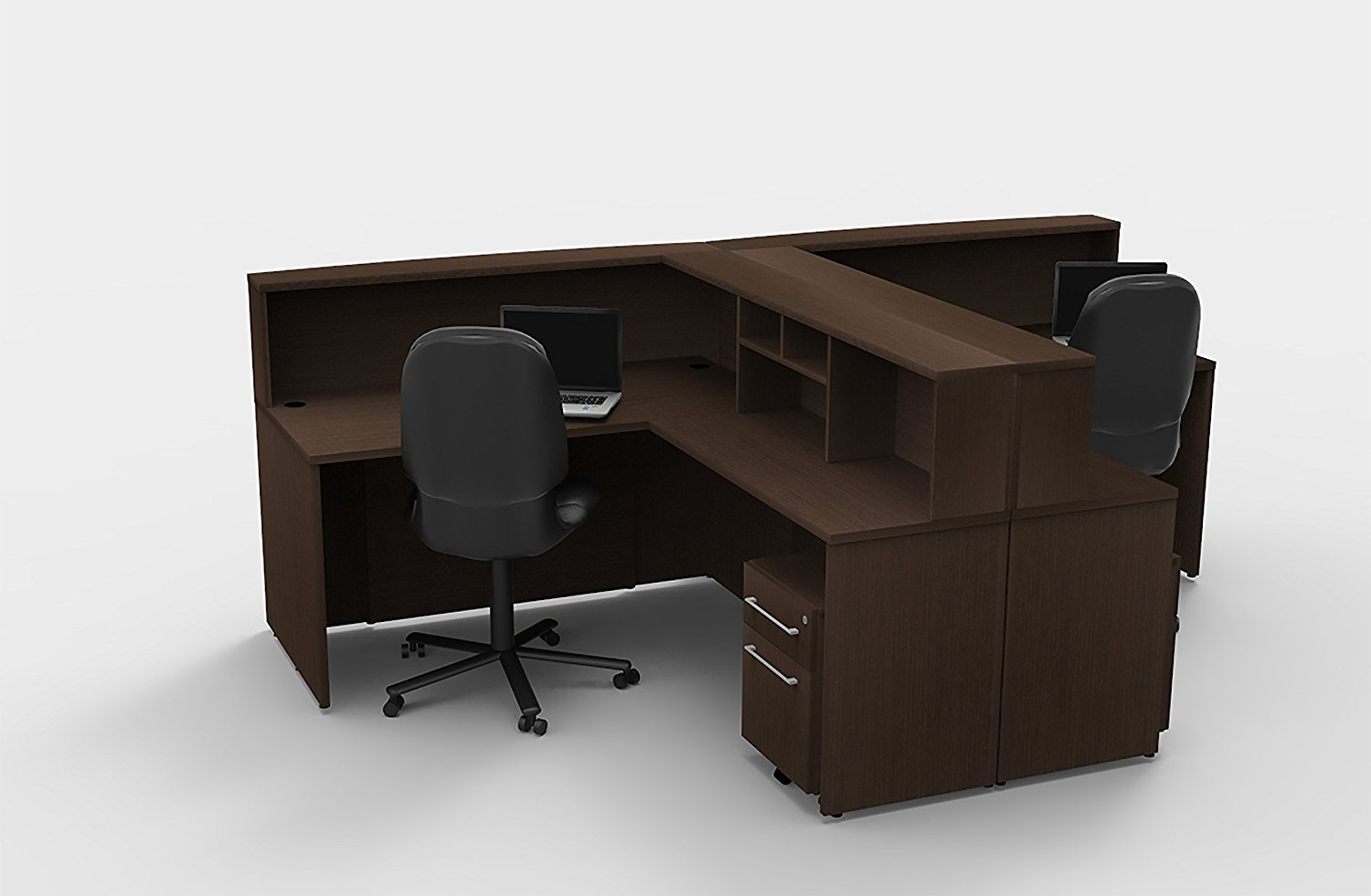 Office Reception Desk Reception Corner Collaboration Furniture Model 4310 10 Pc Group Contemporary Espresso color. Update Your Spaces with Commercial Grade Reception Collaboration Furniture.