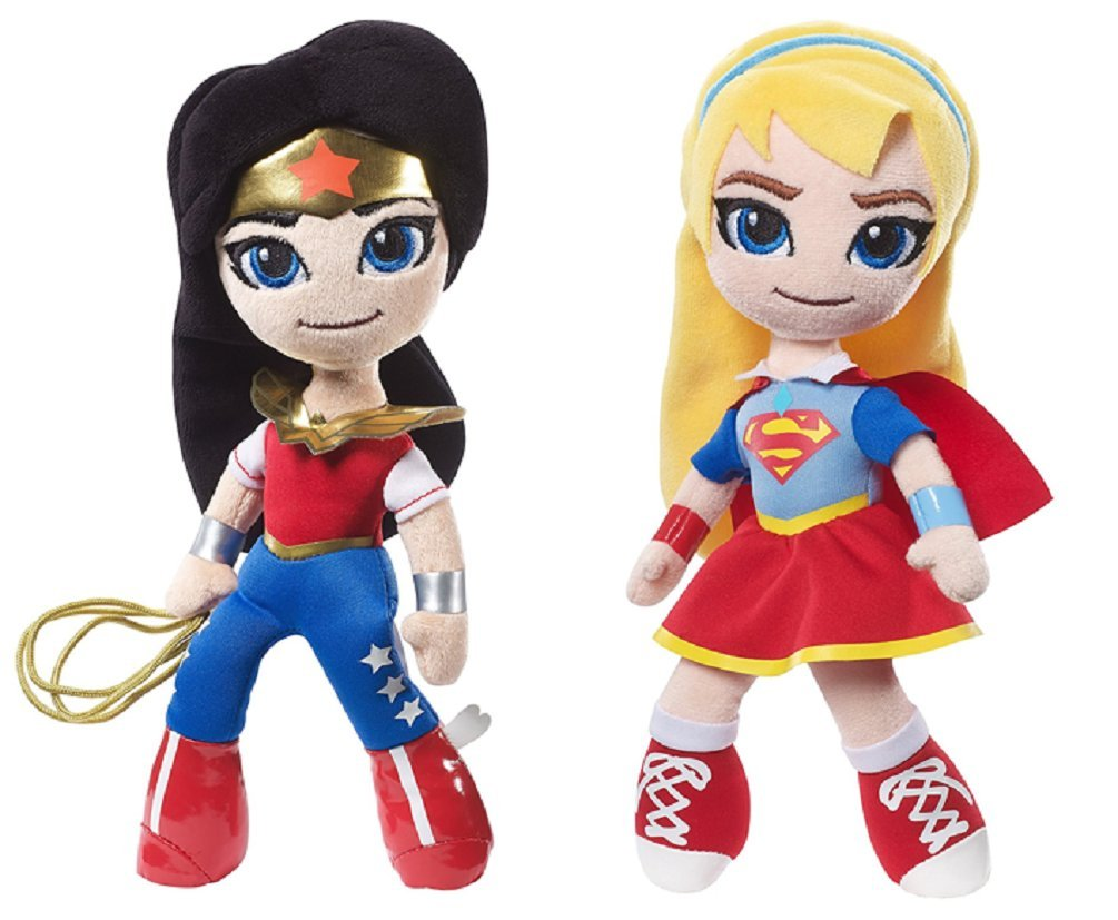 Mattel DC Super Hero Girls Mini Wonder Woman & Supergirl Plush Dolls Set