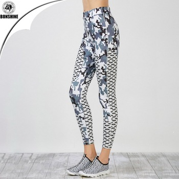 2017 women's new style yoga exercise tight camouflage print leggings pants