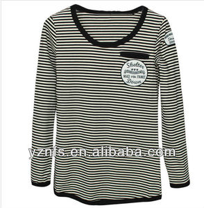 long sleeves stripe tshirt 100% cotton fabric high fashion hot sale women clothes