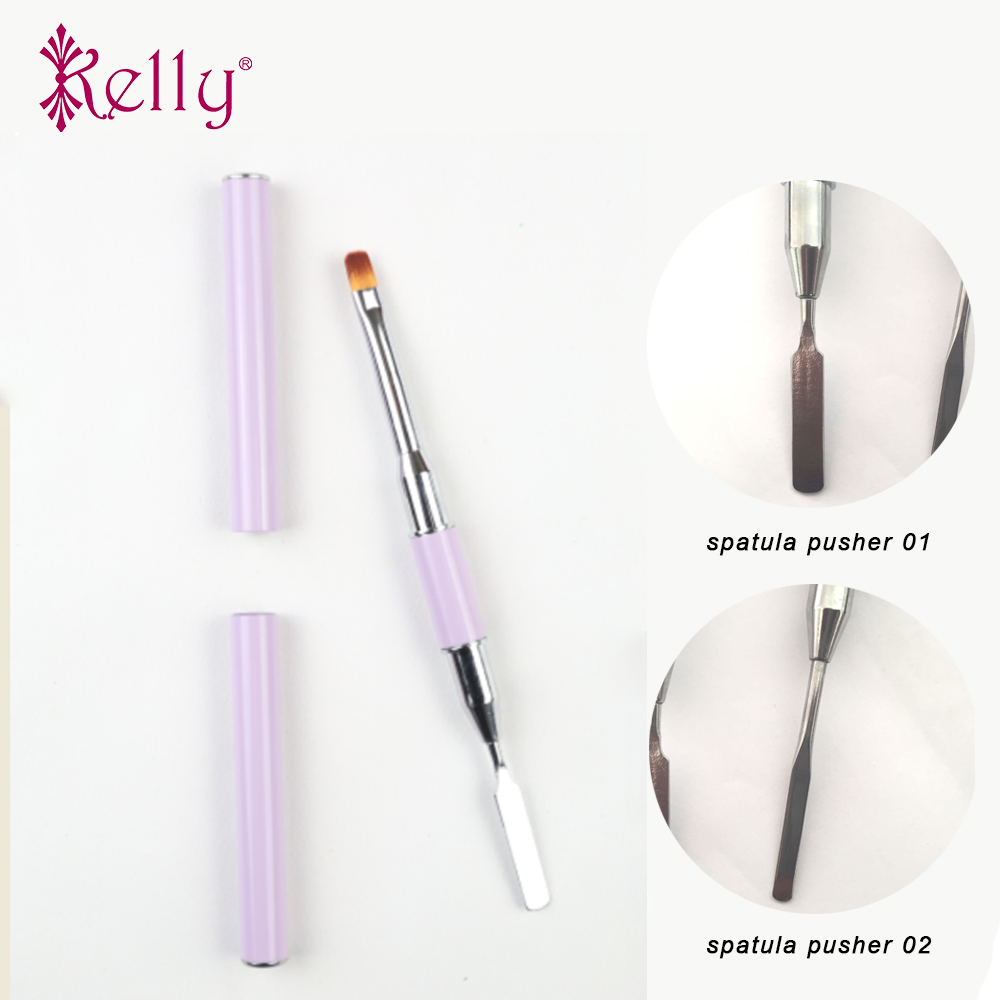 New Design Dual-ended Builder UV & Poly Gel Nylon Hair Nail Brush With Spatula For Nail Tips Extension Gel Tips Building
