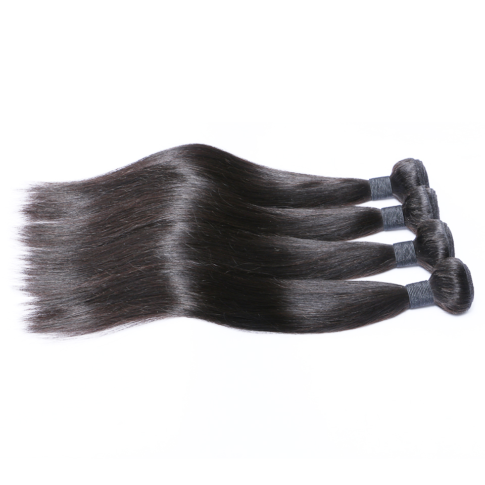 Top quality 9a grade cuticle aligned virgin hair brazilian straight human hair bundles, Natural color 1b