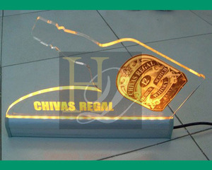 customized CHIVAS acrylic sign acrylic beer advertising board tabletop acrylic billboard with led light up base