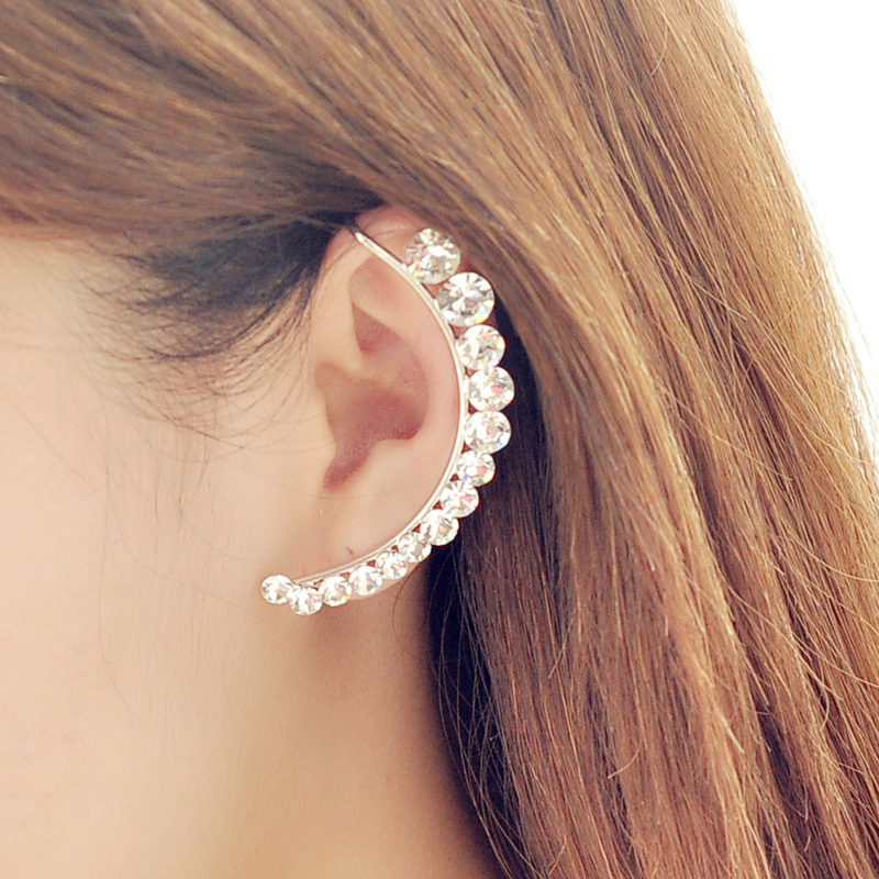 Penntes New Fashion Silver Ear Cuff Earring Gorgeous Crystal Curviplanars Moon Clip Earrings For Women Free Shipping Brincos