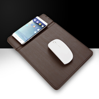 desktop mobilephone PU Leather Quick Charging wireless charger Mouse pad