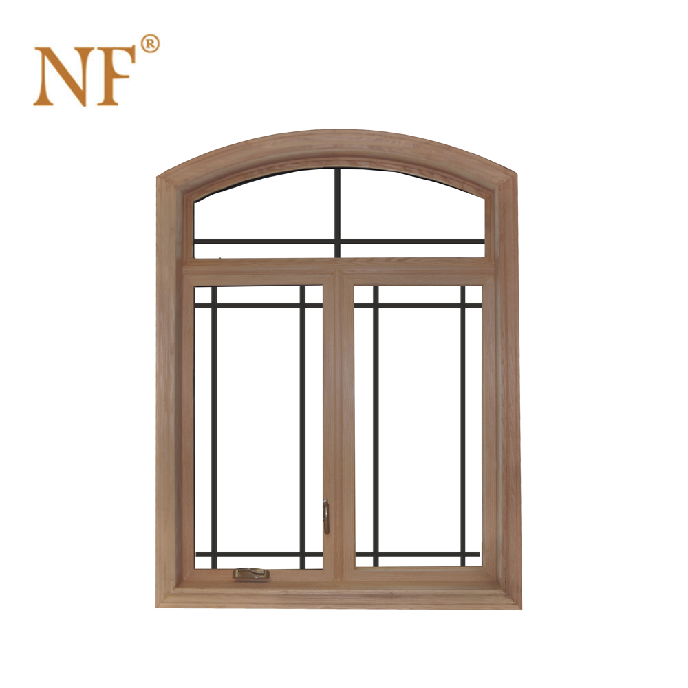 Round top arched aluminum double casement window witn grills
