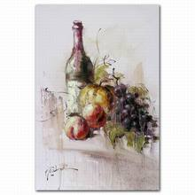 Abstract hand painted still life fruit and wine bottle oil painting for wall decoration