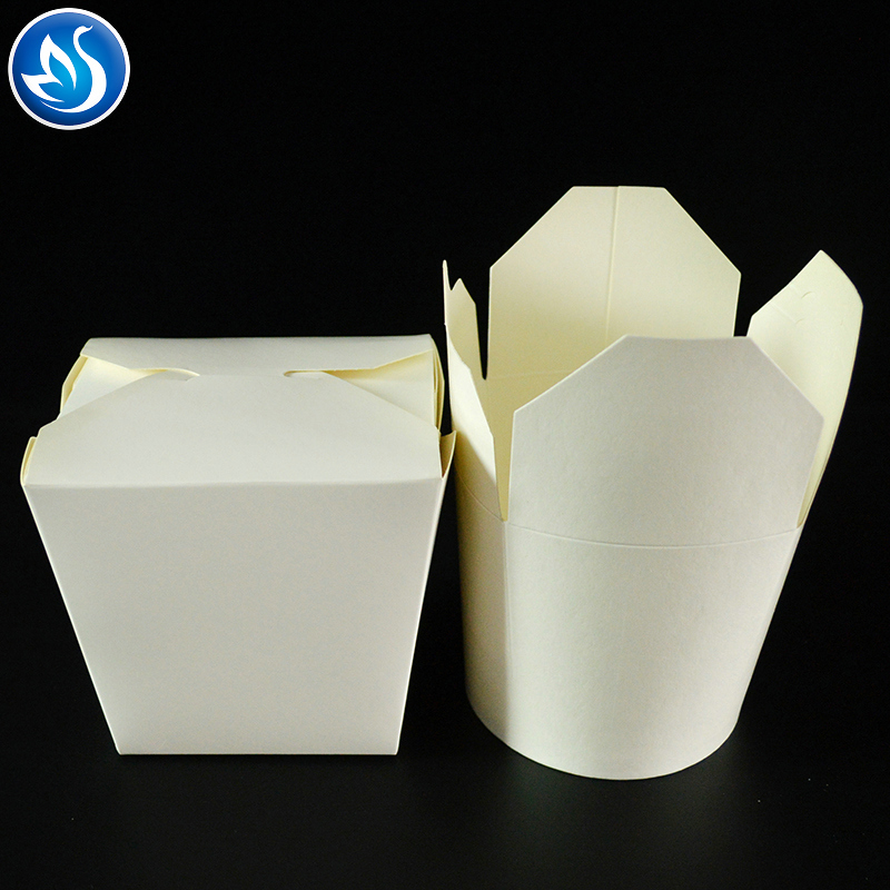 Disposable round 32oz paper noodle bowl food grade cardboard box take away packaging box