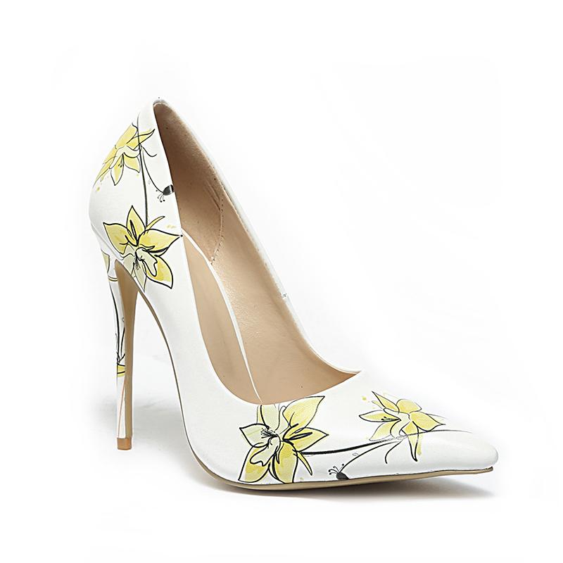 5b89a714d WETKISS OEM ODM Vestido Novo Modelo Sapatos Impressão Fantasia 12 cm de Salto  Alto Sapatos de