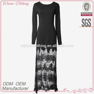 designer ladies clothing elegant/graceful nighty/dinner wear lace bottom long sleeve maxi dress