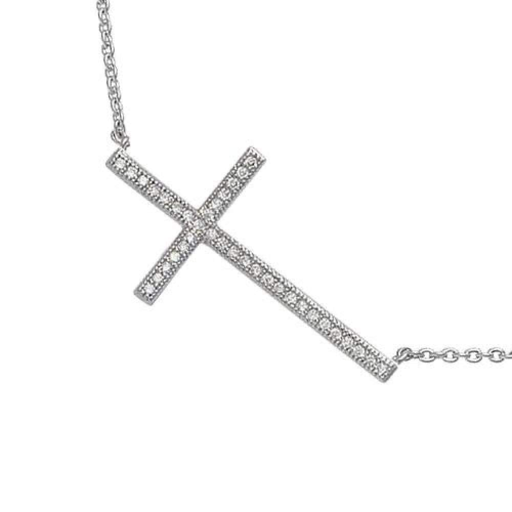 So Chic Jewels - 925 Sterling Silver Cubic Zirconia 40+2+2 cm Christ Cross Chain Necklace
