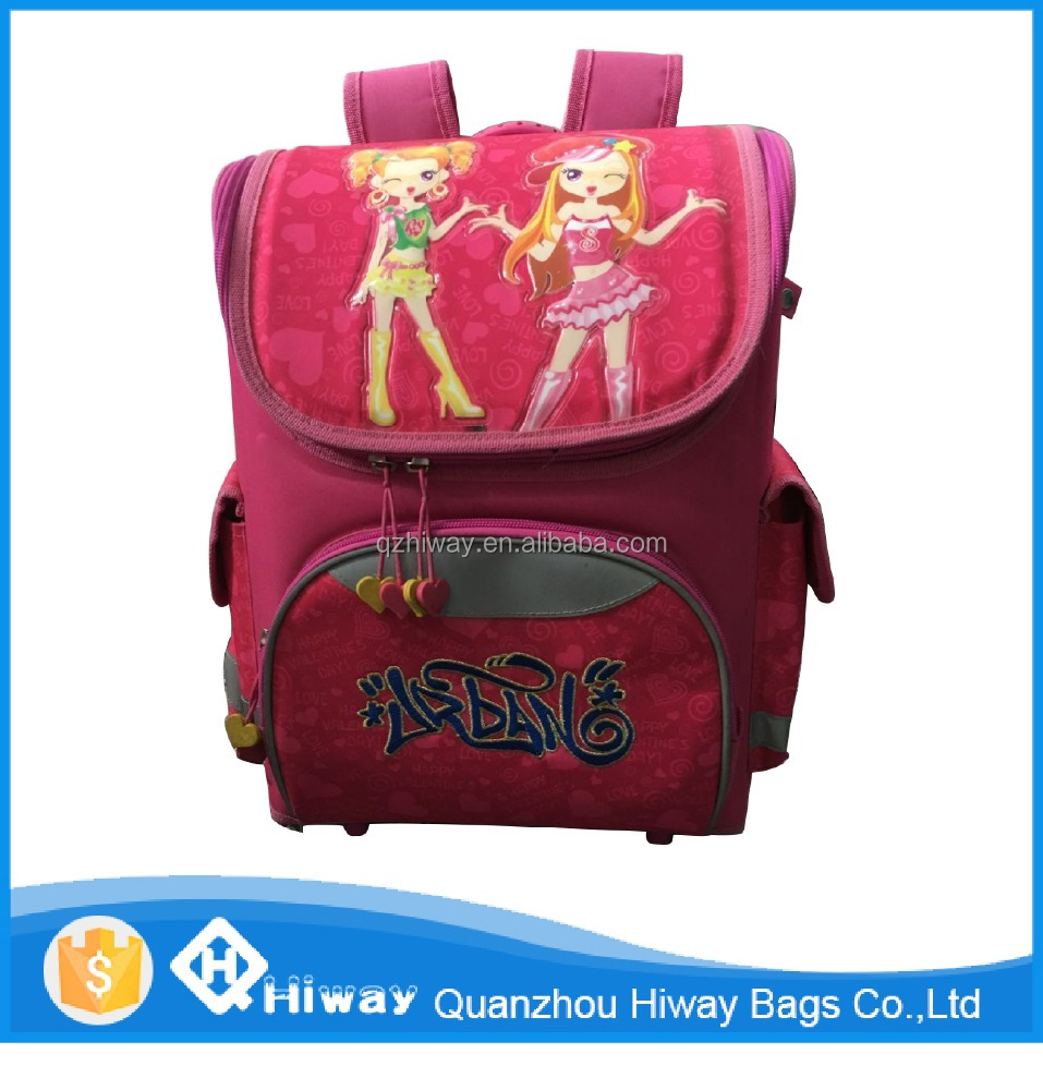 2016 Girls model wholesale cheap OEM/ODM top quality foldable EVA kids reflective fashion backpack school bags