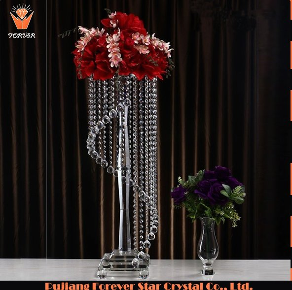 wholesale luxury hanging crystals wedding centerpieces for flowers