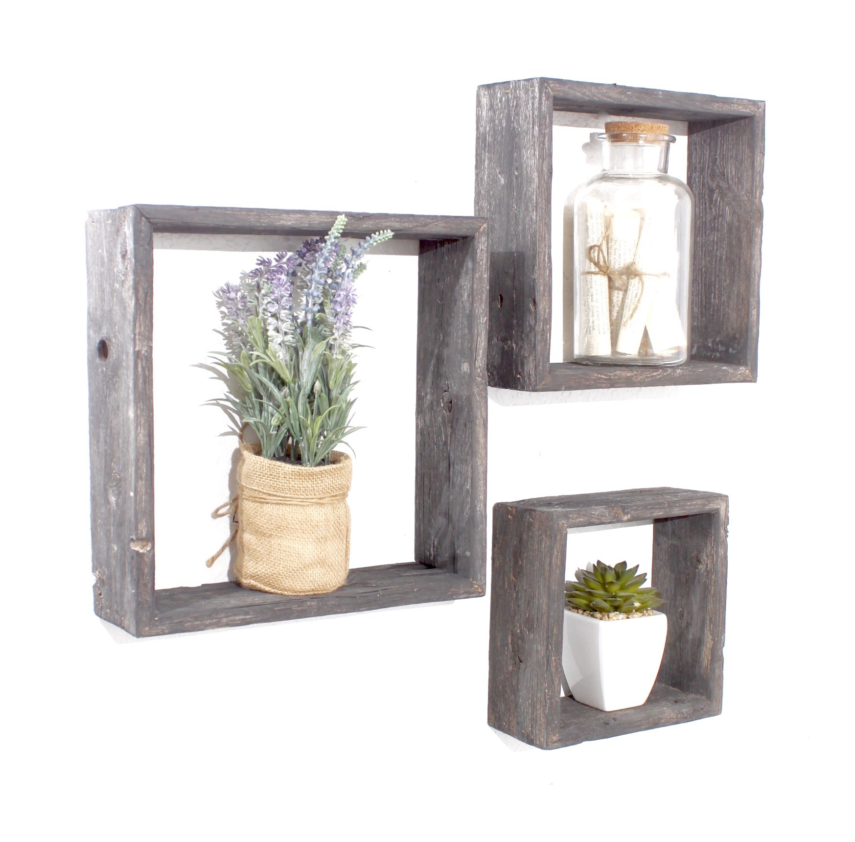 BarnwoodUSA Rustic Farmhouse Floating Hexagon Shelves | Made of 100% Reclaimed and Recycled Wood | Open Shadow Box Style To Display Pieces or Show Off By Themselves | Weathered Gray