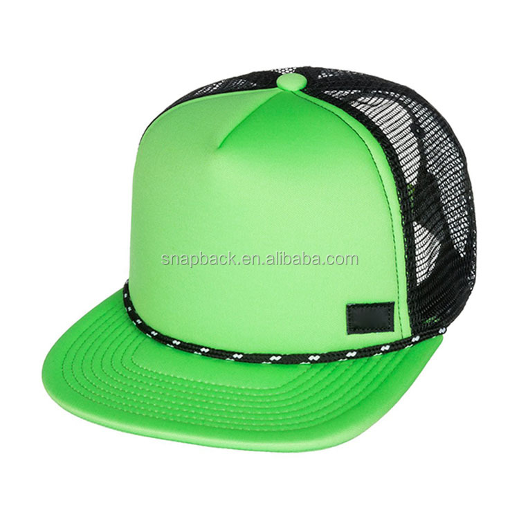 38cd0a9b Youth Custom 5 Panel 2 Tone Blank Plain Foam Rope Snapback Trucker Hat Cap  with String for sublimation