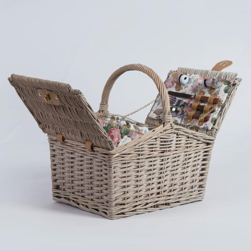 Tasarımcı meyve ekmek kumaş astar beyaz söğüt hasır piknik sepeti