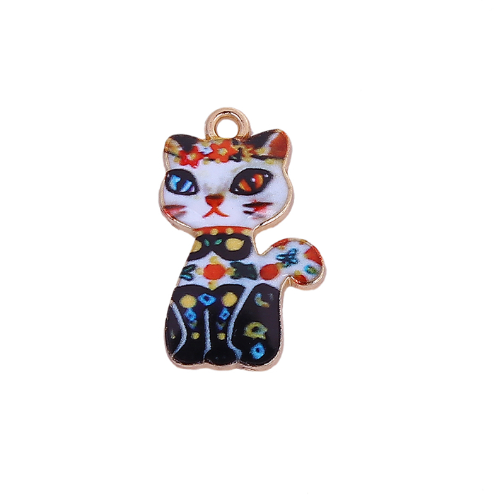 Wholesale Zinc Based Alloy Cat Animal Gold Plated Multicolor Enamel Charms
