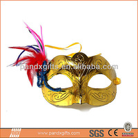 Golden plastic masquerade half face feather party mask for carnival