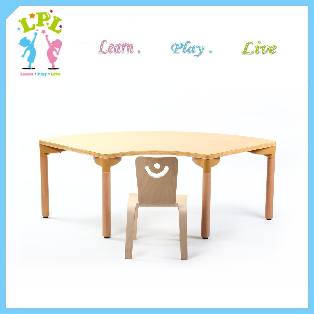 Factory high end Kindergarten furniture Bent wood school kids table chairs