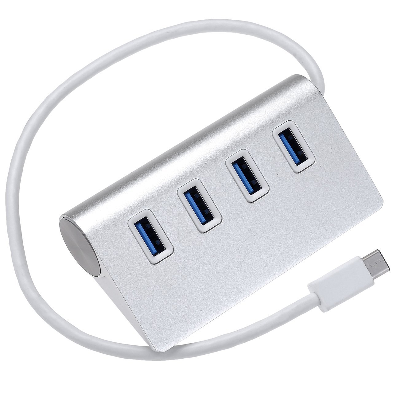 Yerwal USB-C to 4-Port USB 3.0 Hub for USB Type-C Devices,MacBook, ChromeBook Pixel (Silver Aluminum)
