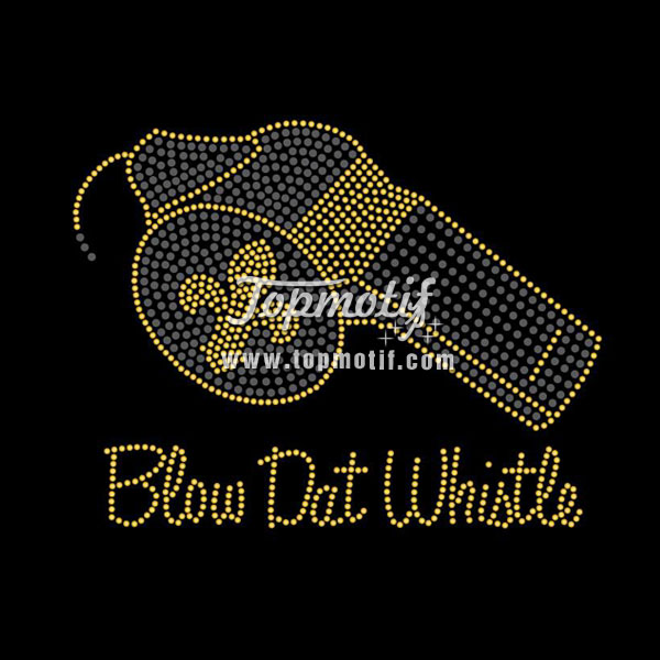Blow Dat Whistle Hot Fix Rhinestone Transfer Designs