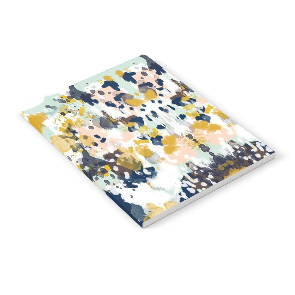 "Society6 Sloane - Abstract Painting In Modern Fresh Colors Navy, Mint, Blush, Cream, White, And Gold Notebook Set of 3 6"" x 8"" Lined"