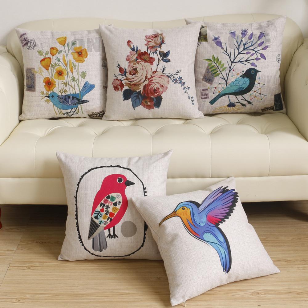45cm Blue Woodpecker Fashion Cotton Linen Fabric Throw Pillow Hot Sale 18 Inch New Home Decor Sofa Car Cushion Office Nap FR