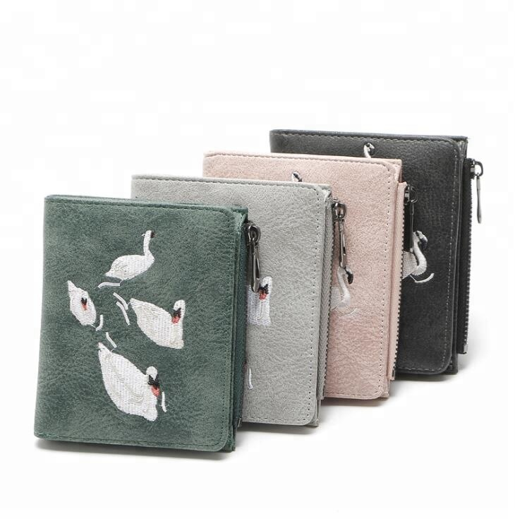 New Women Casual Short <strong>Wallets</strong>, Fashion Lady id Card Holder Coin Pocket with flamingos Embroidery
