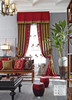 Italian Royal Style Chenille Bedroom Window Blackout Curtain, Antique Gold & Red Soft Jacquard Drape Door Curtain