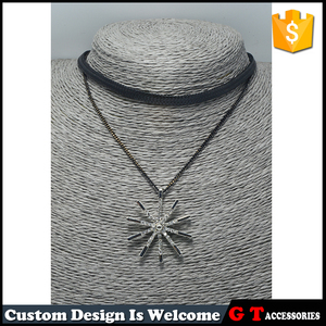 Hot Selling Alloy Silver Pendant Crystal Paved Black Leather Choker Necklace For Women