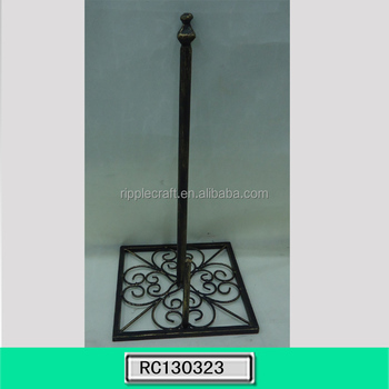Chinese Style Black Standing Wrought Iron Paper Towel Holder Home Decoration