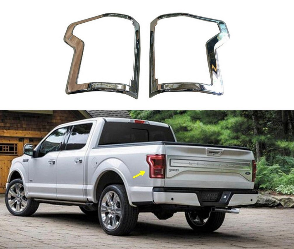 For Ford F-150 2015-2016 Chrome 2 Taillight Tail Light Bezel Covers