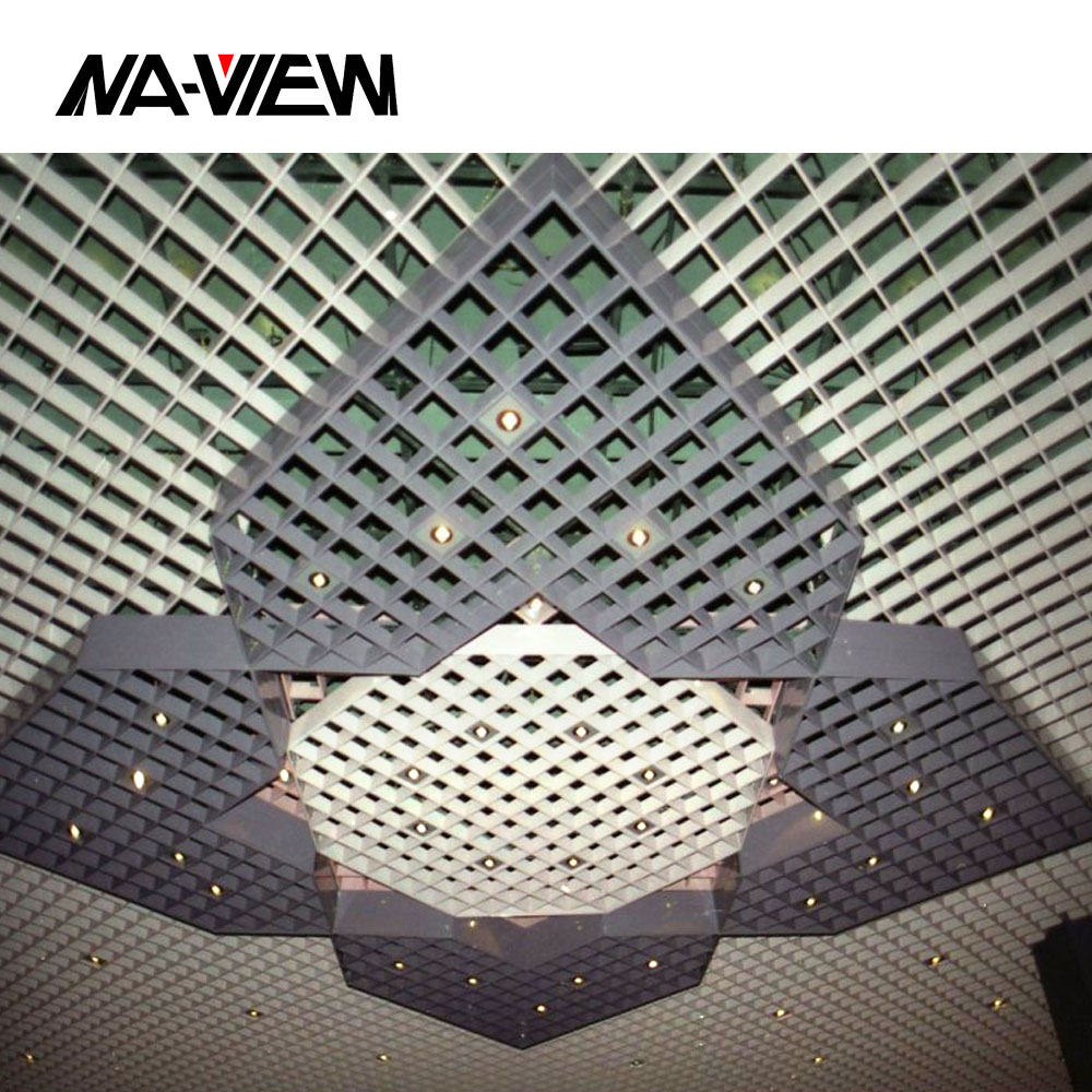 aluminum fause metal grille grid open cell suspended ceiling tiles board panel channel system