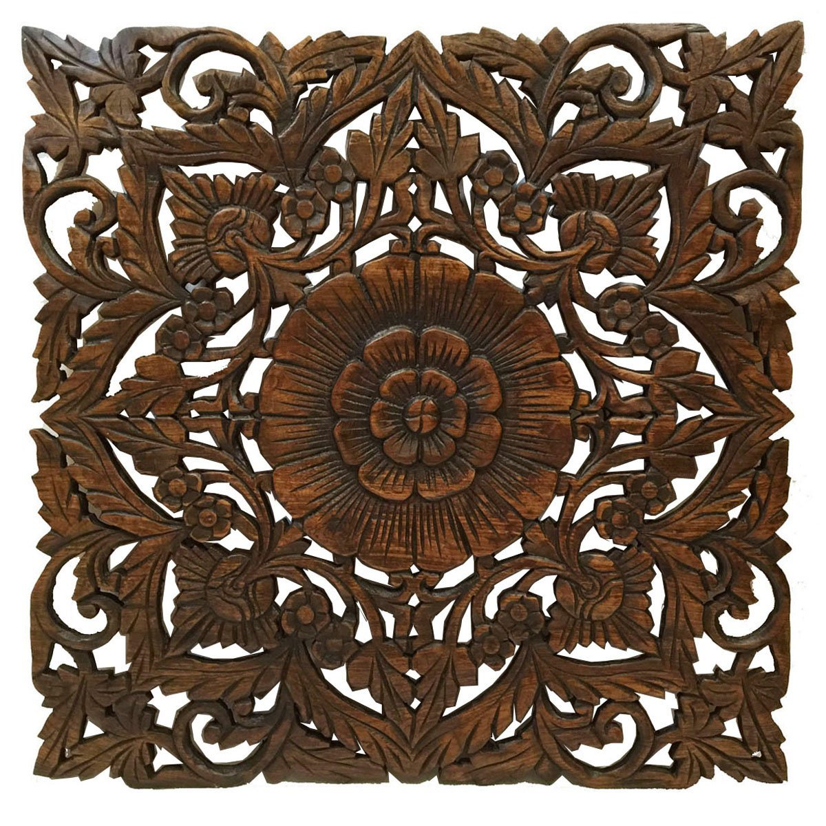 "Large Wood Wall Art- Oriental Carved Wood Wall Decor. Floral Wall Decor. Asian Home Decoration. Rustic Home Decor. Size 24""x24""x0.5"" (Dark Brown)"