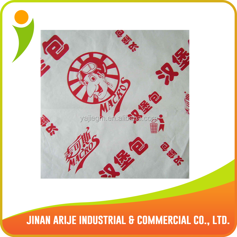 Greaseproof wraping paper for hamburger food
