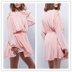 New 2015 Autumn Full Lined Ruffle Long Sleeve Cold Shoudler Elegant Ladies Shift Dress Pink NT6748