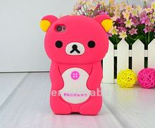 HOT! Cute 3D Rilakkuma Relax Bear Soft Silicone Back Case Cover Skin for iPhone 4 4S KSL110